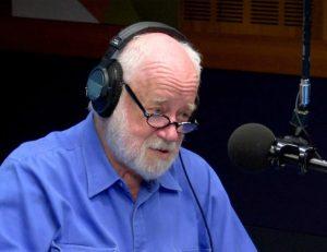 Phillip Adams at radio mic